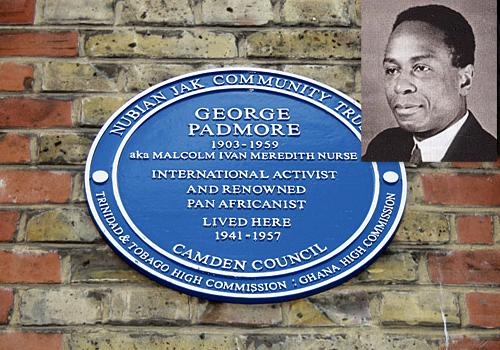 Blue Plaque. Inset: George Padmore... 'a life devoted to Africa'